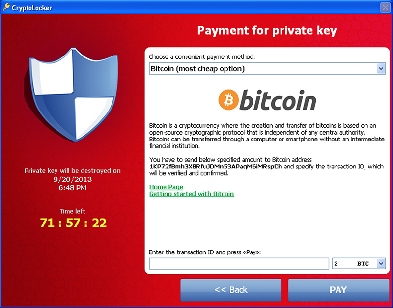 CryptoLocker main pane