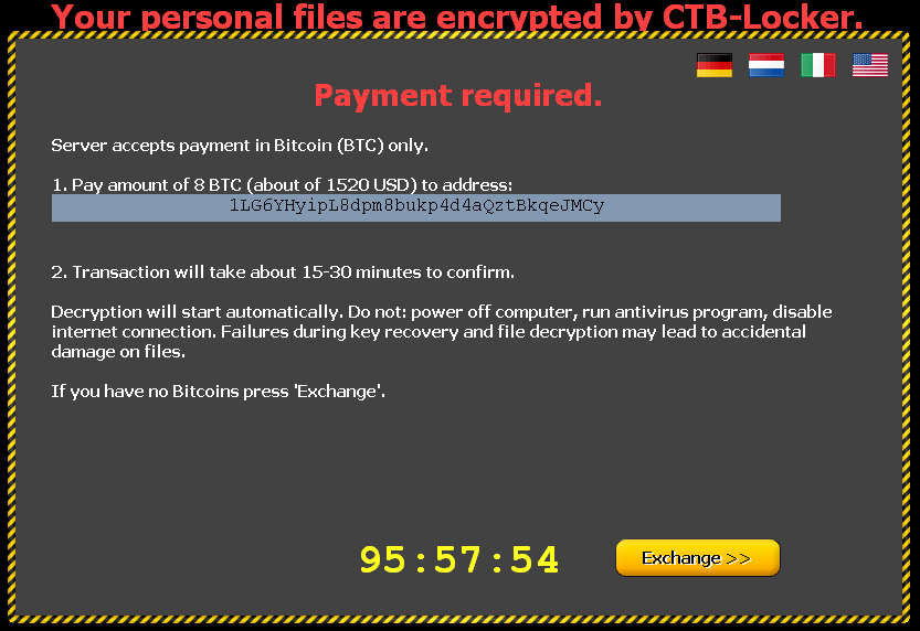 CTB Locker requiring payment